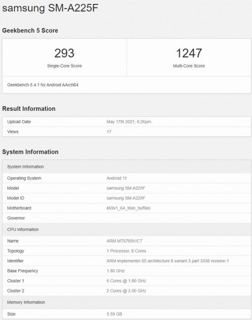 گوشی گلکسی A22 4G در بنچمارک Geekbench رویت شد