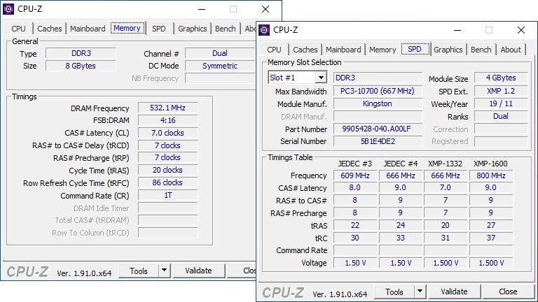 CPU-Z اطلاعات جامع تری درباره رم ارائه می کند