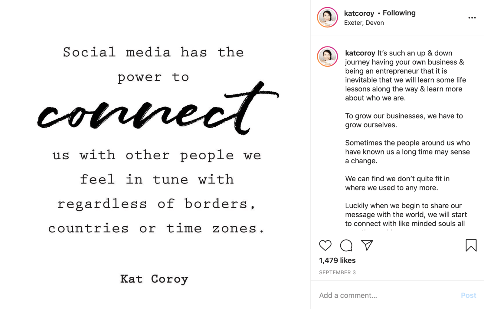 instagram post with quote image