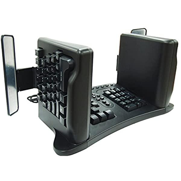 در صفحه کلیدهای SafeType دو نیمه صفحه کلید عمود بر سطح میز قرار میگیرد.