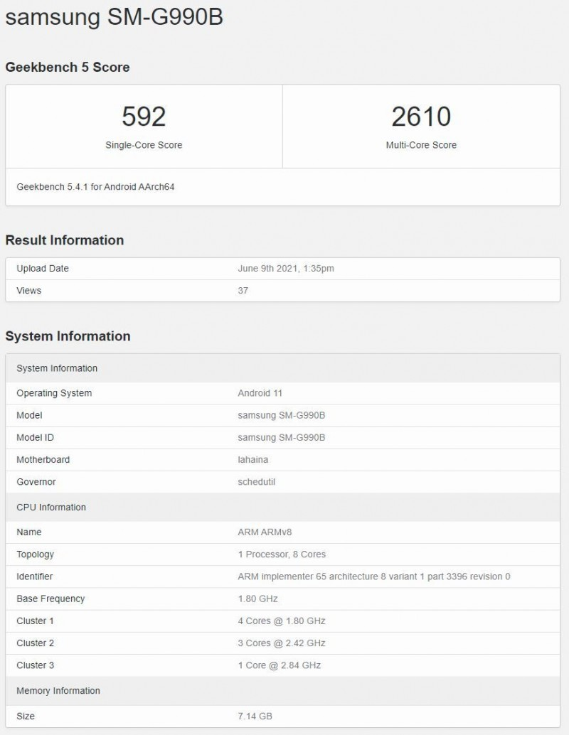 Samsung Galaxy S21 FE shows up on Geekbench