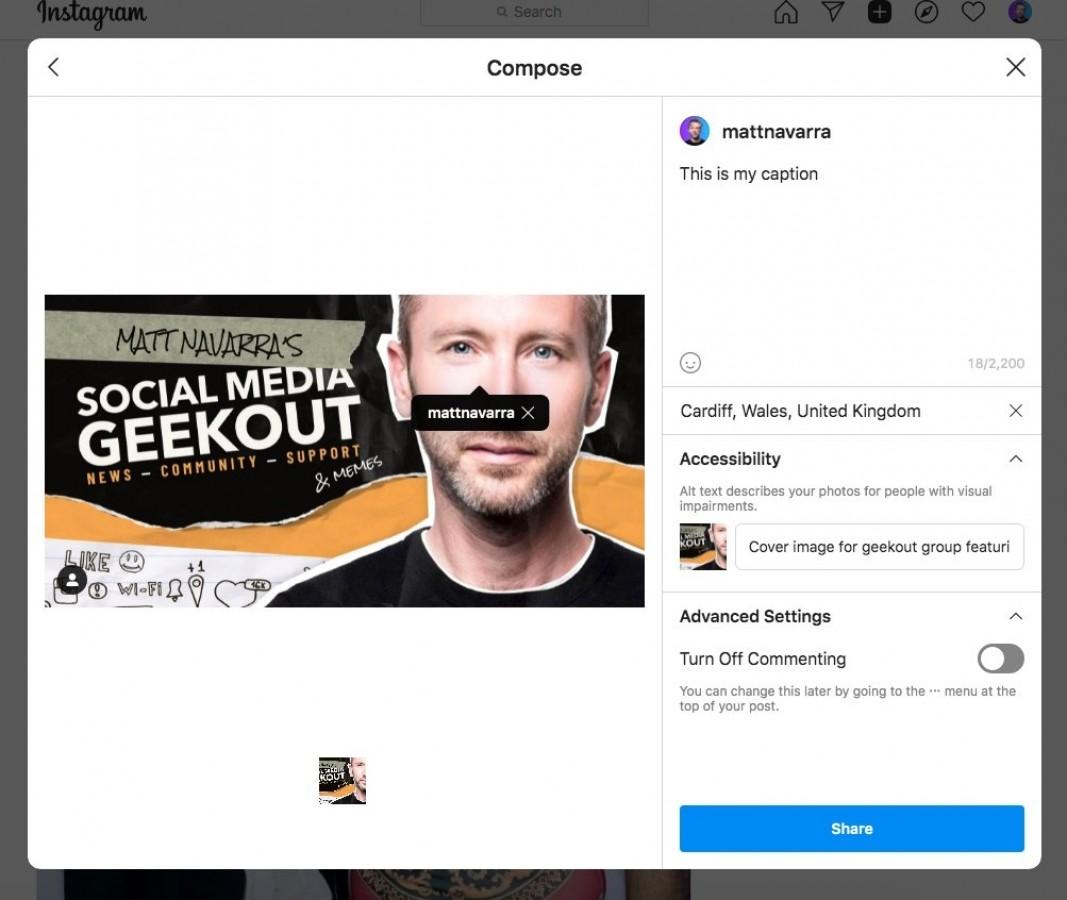 اینستاگرام در حال تست انتشار پستها از روی کامپیوتر است