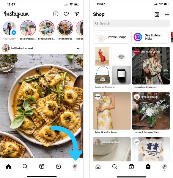 تب Instagram Shop