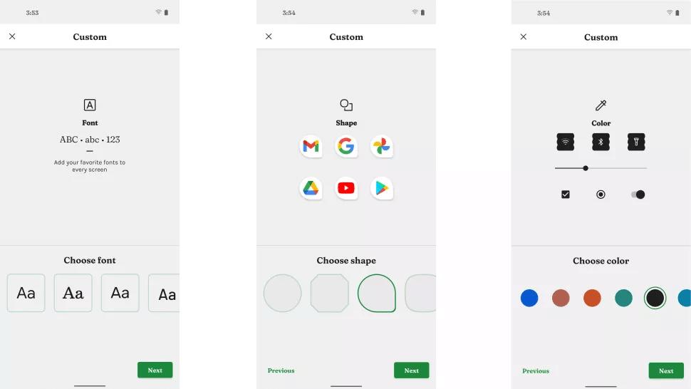 گزینههای تغییر فونت، شکل آیکن اپلیکیشنها و تم رنگی سیستم عامل