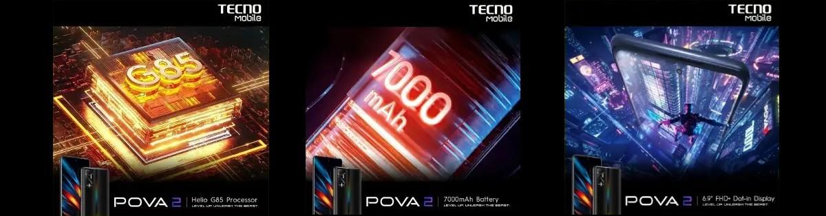 گوشی Tecno Pova 2 با نمایشگر فول اچدی و باتری 7000 میلیآمپر ساعت معرفی شد