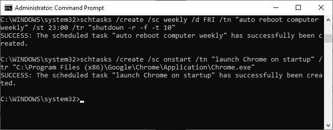 Windows schtasks command