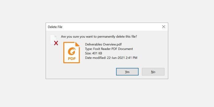 کلید میانبر حذف فایل بدون نیاز به تأیید گرفتن