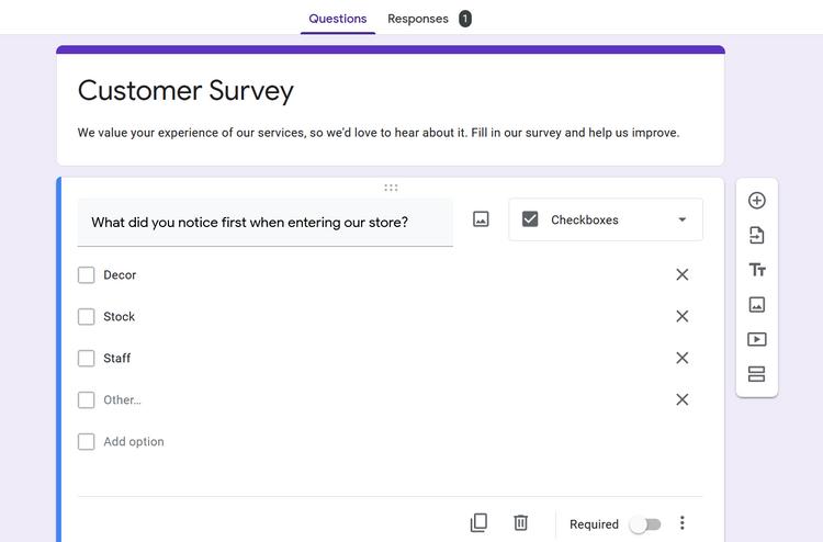تنظیمات سوال در Google Forms