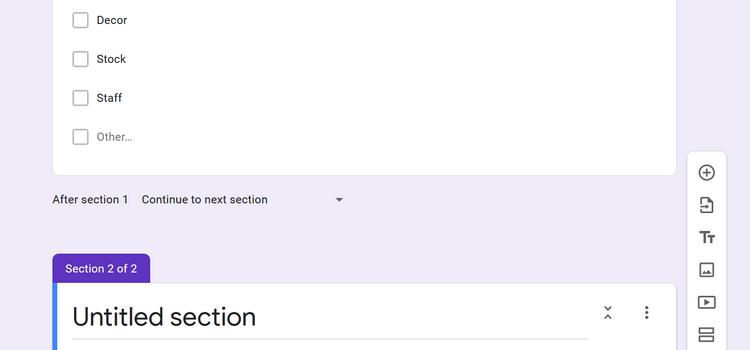 اضافه کردن عناوین و بخشها در گوگل فرم