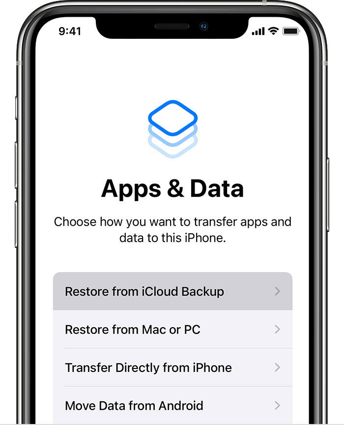 ios14 iphone11 pro setup apps data restore from icloud backup on tap