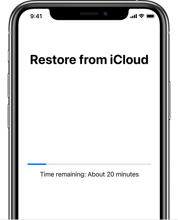 ios14 iphone11 pro setup restore from icloud in progress