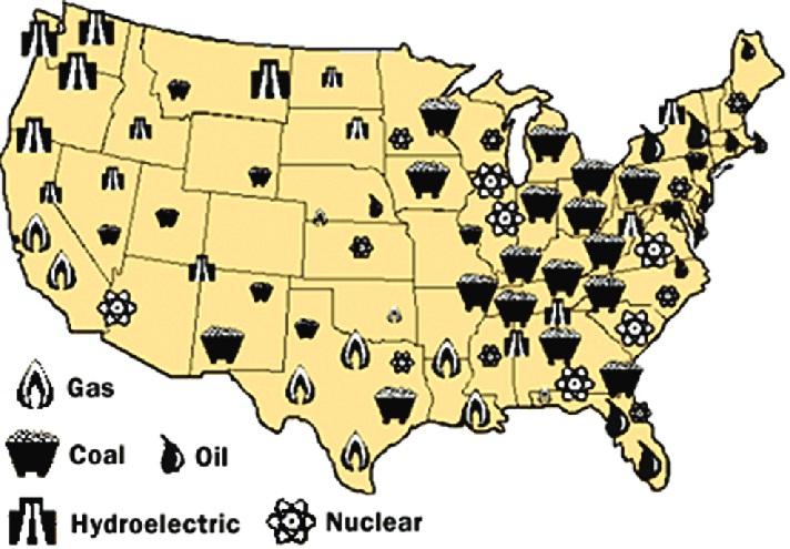 تفکیک نیروگاههای برق اصلی آمریکا
