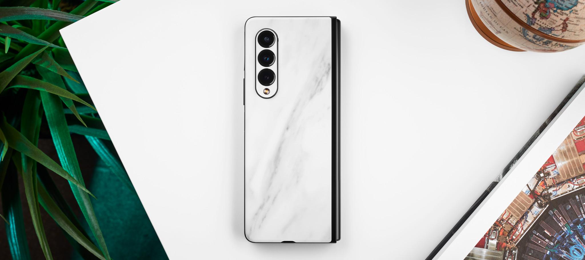 white marble galaxy z fold 3 skins