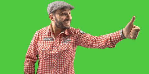 happy man on green screen