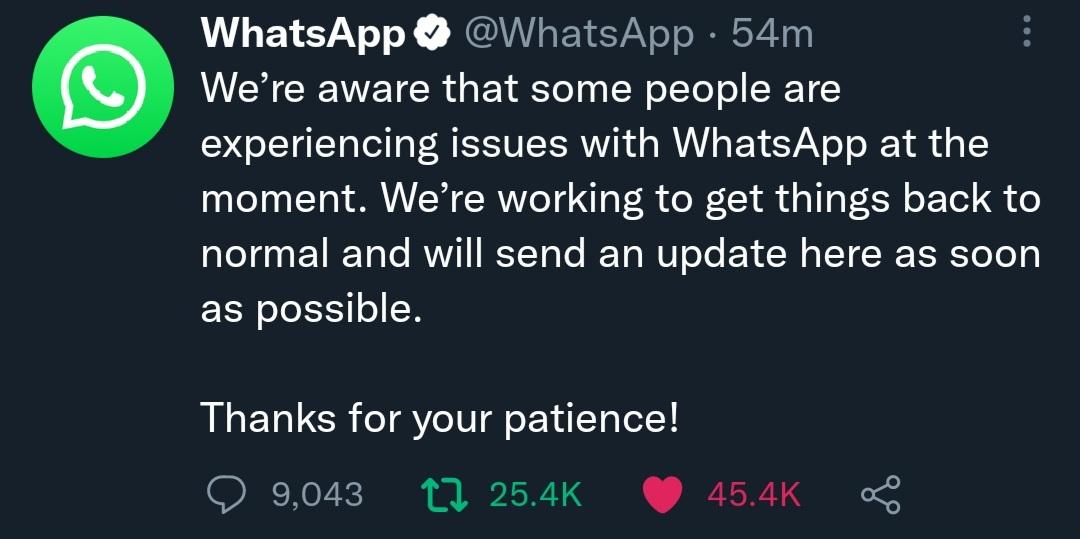 توییت رسمی واتساپ دربارهی اختلال