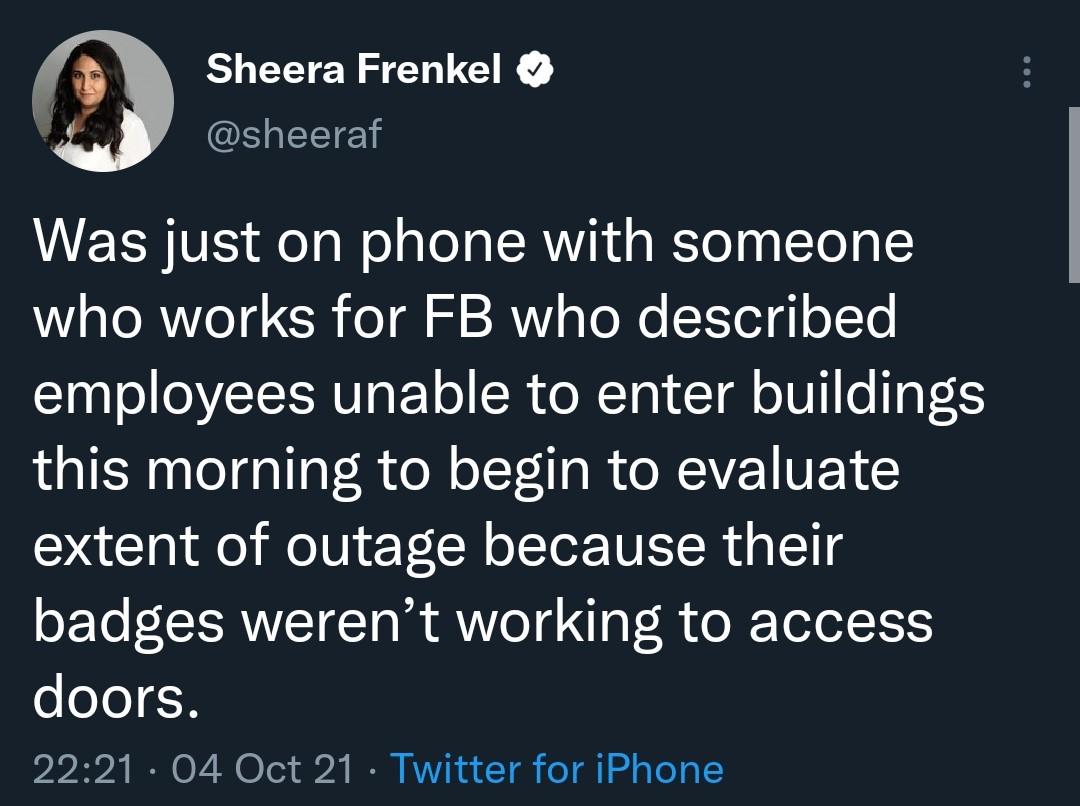 توییت خبرنگار نیویورک تایمز درباره اختلال فیس بوک