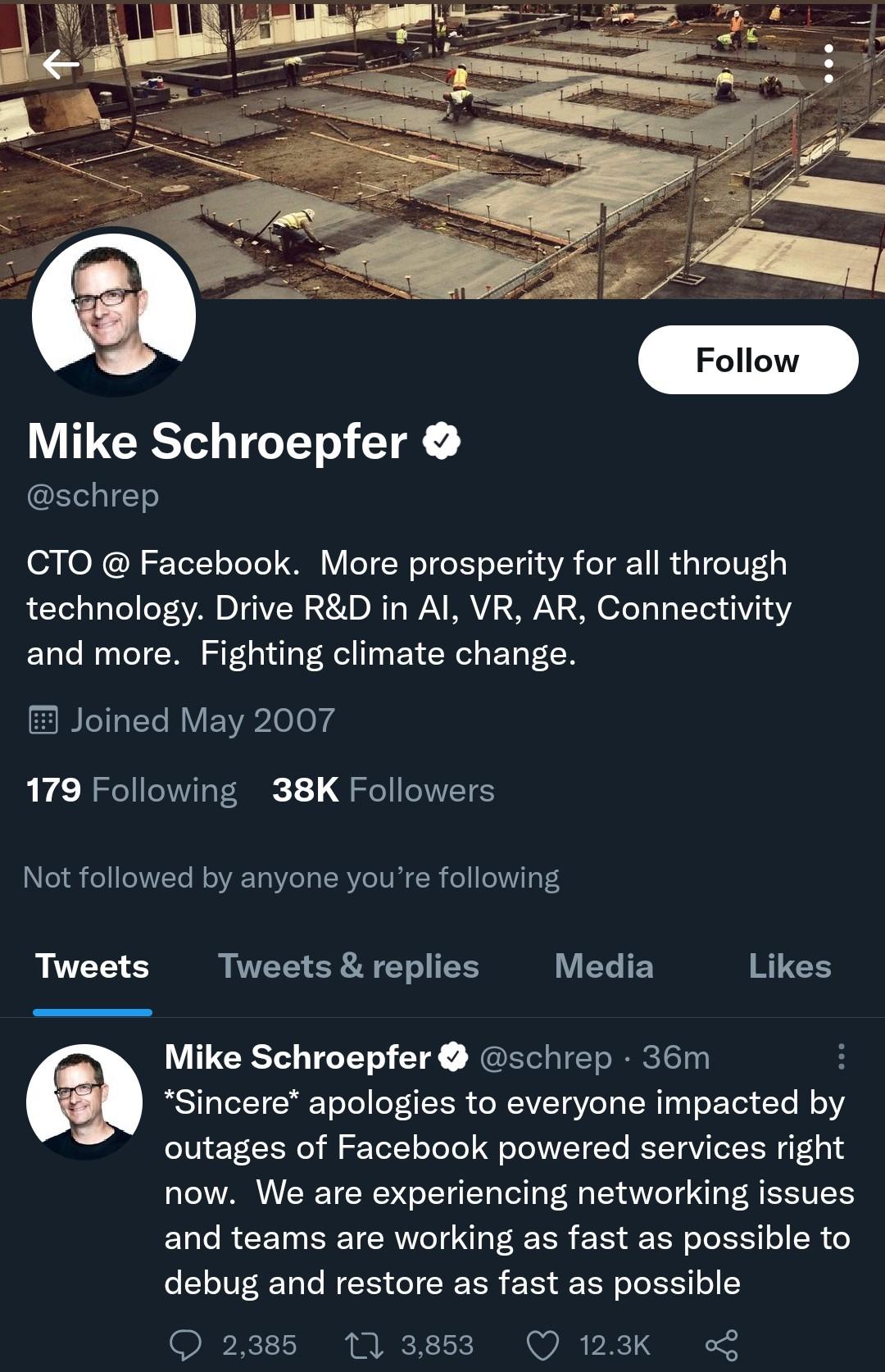 توییت رسمی مایک شرپفر
