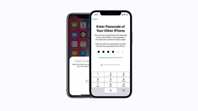 enter passcode old iphone on new iphone
